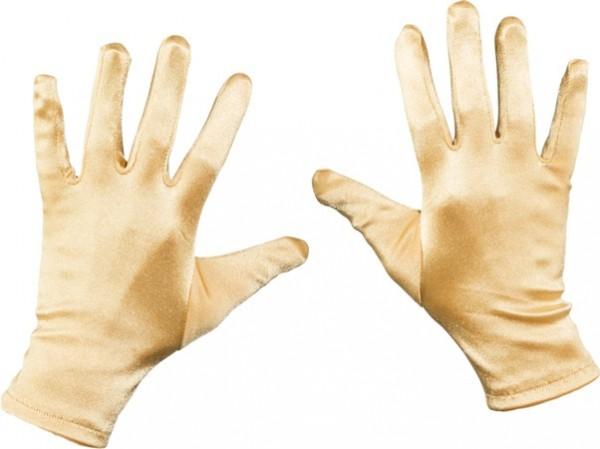 e1acdb89274b6 Kurze Goldene Satin Handschuhe