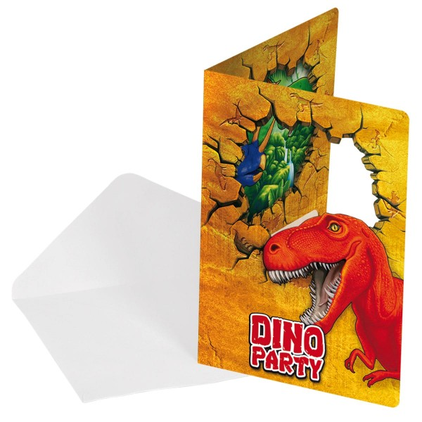 6 cartes d'invitation aventure dinosaure