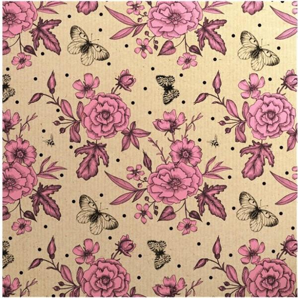Papier d'emballage écologique pétales de rose