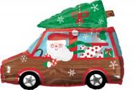 Santa im Auto Folienballon 50 x 38cm