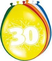 8 Bunte Latexballons Zahl 30