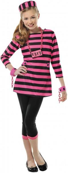 Pink-Schwarzes Gefangenenkostüm für Mädchen
