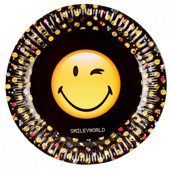 8 Runde Pappteller Smiley World 23cm