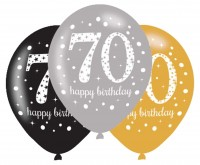 6 Golden 70th Birthday Ballons 27,5cm