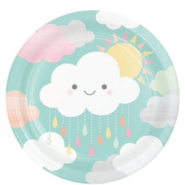 8 baby shower plates small cloud 23cm
