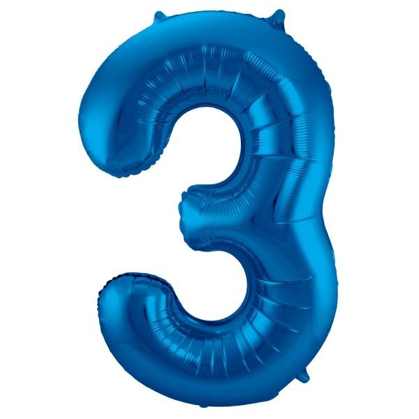 Ballon aluminium numéro 3 bleu 86cm