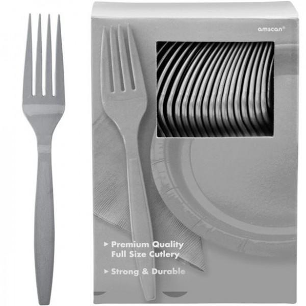 100 silver plastic forks Glory 20cm
