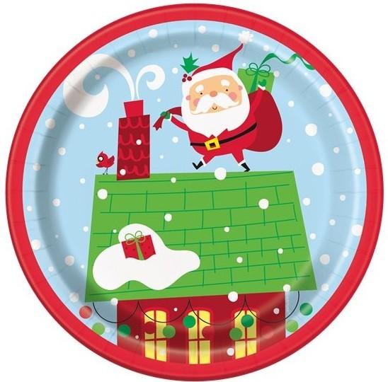 8 piatti di carta Babbo Natale 18 cm