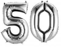 Folienballon Zahl 50 silber metallic 88cm