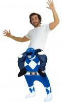 Mega Power Ranger Huckepack Kostüm Blau