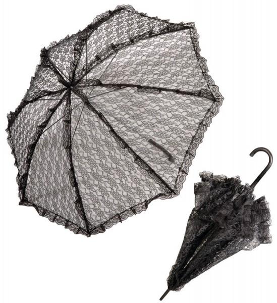 Edler Spitzen Schirm Schwarz