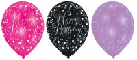 6 funkelnder Luftballons Happy Birthday pink lila schwarz