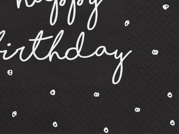 20 serviettes My Birthday noir 33cm