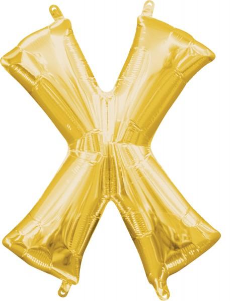 Mini foil balloon letter X gold 35cm