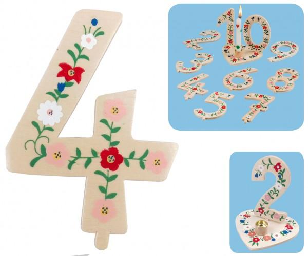 Geburtstagszahl 4 Blumengruß 10cm