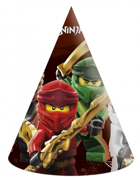 6 Lego Ninjago party hats