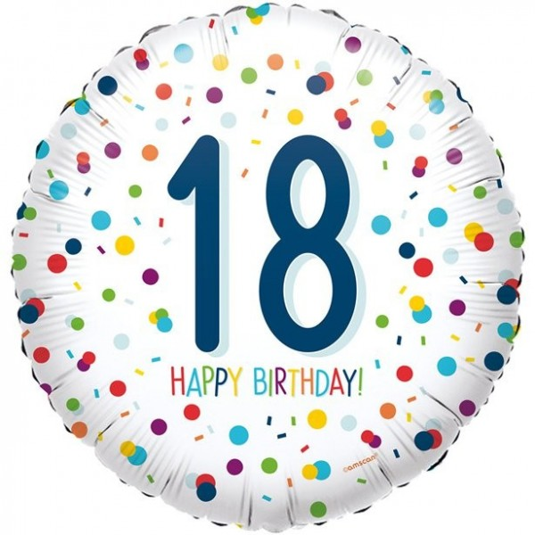 Ballon aluminium confettis 18ème anniversaire 45cm