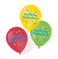6 Sommerparty Herzlichen Glückwunsch Ballons 28cm