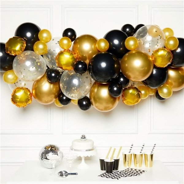 66-częściowa girlanda z balonów DIY w kolorze złotym czarnym