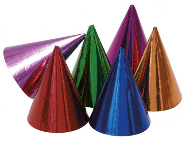 10 colorful cone party cones