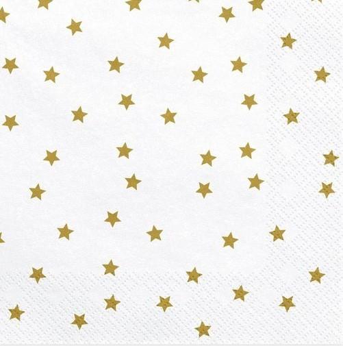 20 servilletas blancas con estrellas doradas 33cm
