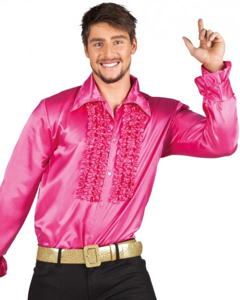 Shiny ruffled shirt pink