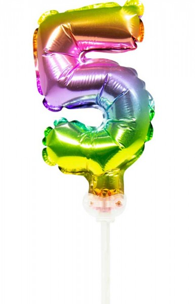 Ballon de décoration de gâteau arc-en-ciel numéro 5