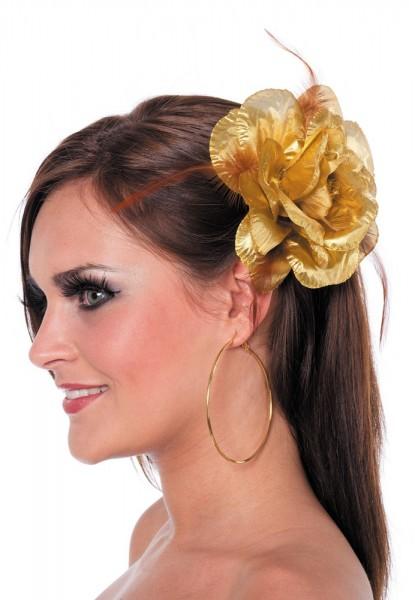 Filigrane Goldene Rose Mit Haargummi