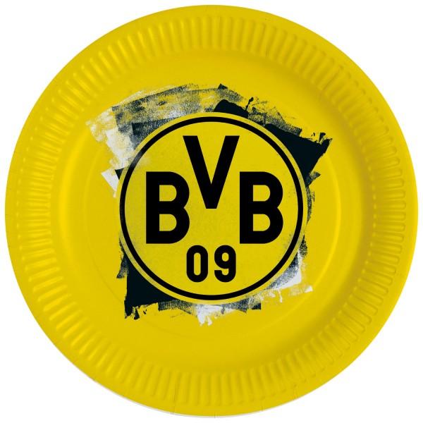 8 platos de papel BVB Dortmund 23cm