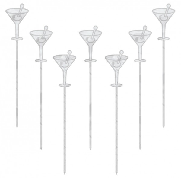 50 elegantes pinchos de fiesta para martini plateados 10.1cm