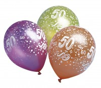 5 bunte 50.Geburtstag Luftballons 30cm