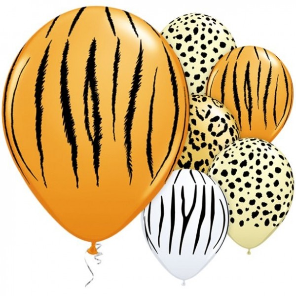 5 Qualatex Safari Mix Ballons 28cm