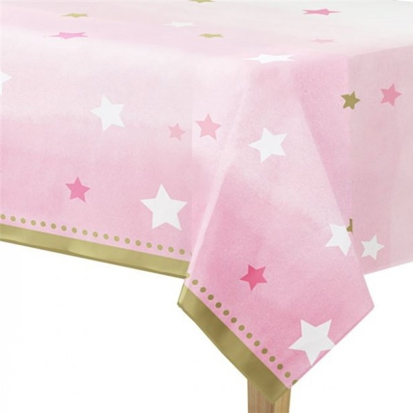 Twinkle Pink Star tablecloth 1.4 x 2.6m
