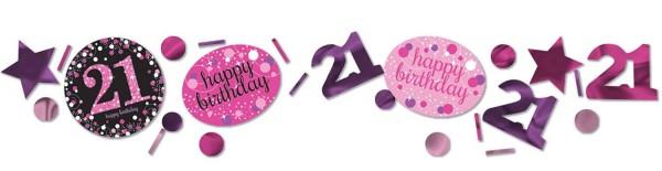 Decoración rosa 21 cumpleaños espolvorear 34g