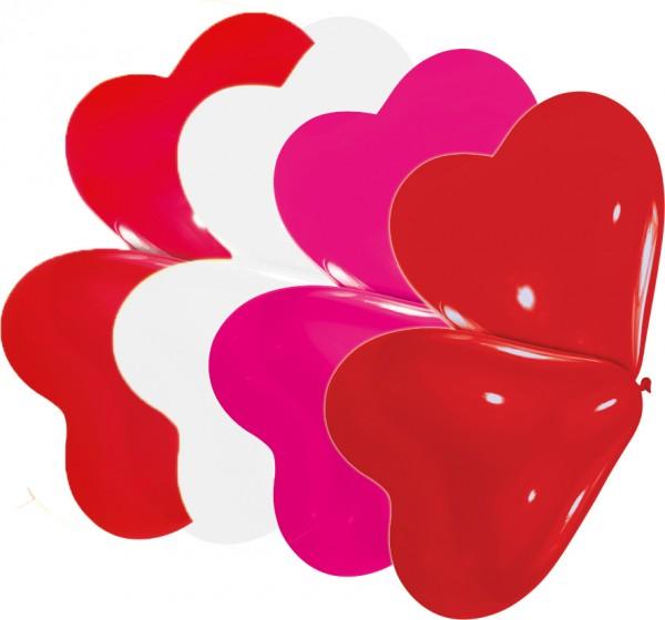 10 heart balloons mix 20cm