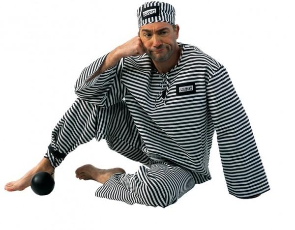 Gefangener Sträfling Herrenkostüm