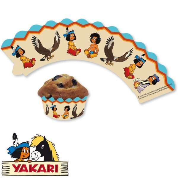 12 Yakari Party Muffin Banderolen