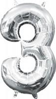 Mini Folienballon Zahl 3 silber 35cm