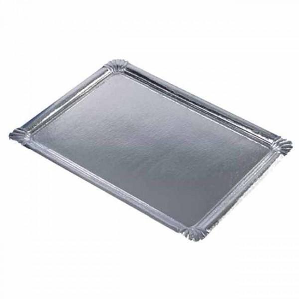 10 assiettes de service en carton argenté 45,5cm x 34cm