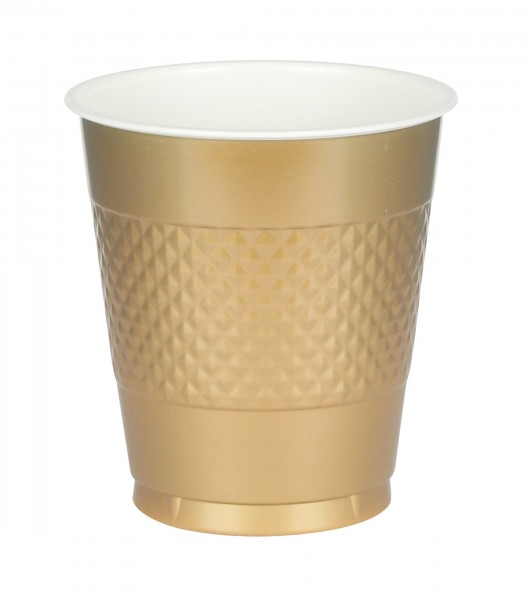 20 plastic cups June gold 355ml