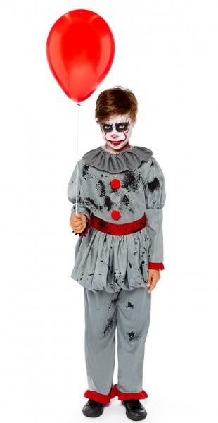 Grauer Halloween Horror Clown Kinderkostüm