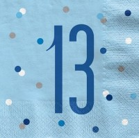 16 Blue Dots 13th Birthday Servietten 33cm
