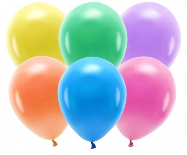100 Eco Pastell Ballons bunt 26cm