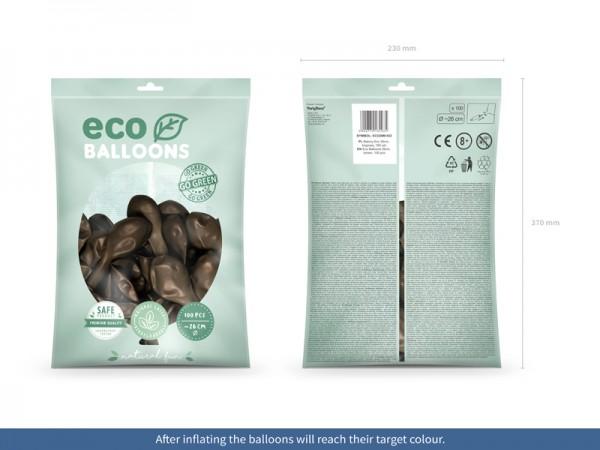100 Eco metallic Ballons braun 26cm
