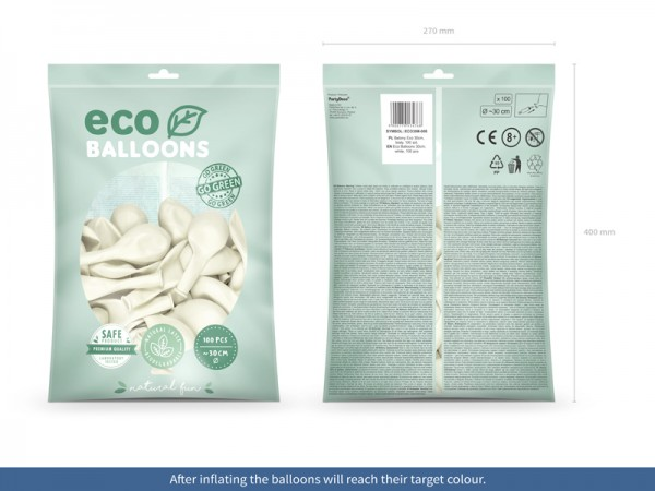 100 Eco metallic balloons white 30cm