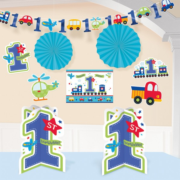 Sweet First Birthday Boy Party Deko Set Blau 1