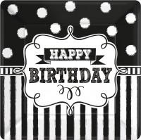 8 Black & White Birthday Pappteller 18cm