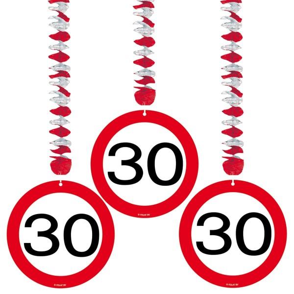 3 Hängedeko Verkehrsschild 30. Geburtstag