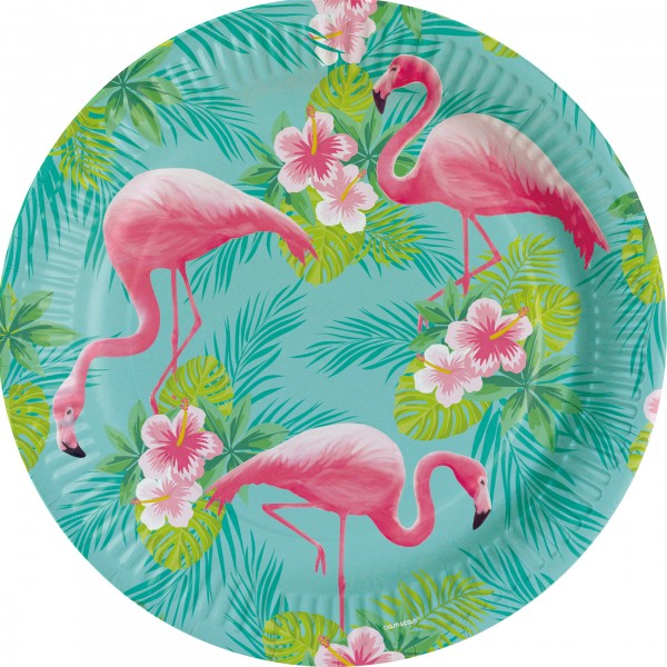 8 Flamingo Paradise plates 23cm