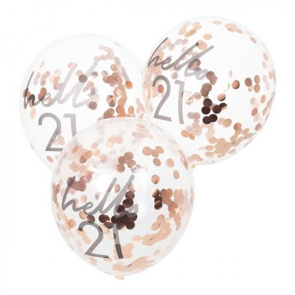 5 palloncini Hello 21 coriandoli oro rosa 30 cm